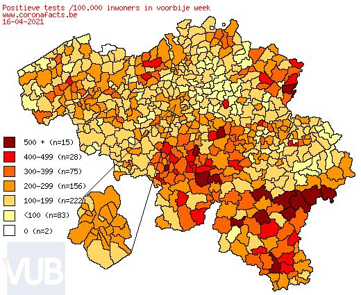 De coronacijfers (17/04/2021) van België +3,815, Sint-Truiden +9, Borgloon +5, Gingelom +2, Heers +1, Tongeren +3, Nieuwerkerken (Limburg) +0, Hasselt +12 en de Provincie Limburg +356