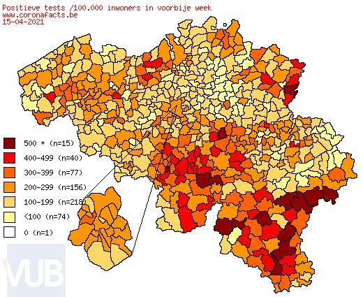 De coronacijfers (16/04/2021) van België +3,921, Sint-Truiden +10, Borgloon +2, Gingelom +1, Heers +0, Tongeren +15, Nieuwerkerken (Limburg) +0, Hasselt +22 en de Provincie Limburg +370