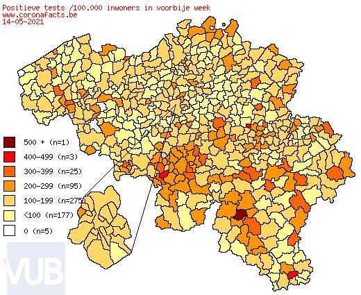 De coronacijfers (15/05/2021) van België +1.609, Sint-Truiden +3, Borgloon +2, Gingelom +0, Heers +0, Tongeren +2, Nieuwerkerken (Limburg) +0, Hasselt +5 en de Provincie Limburg +122