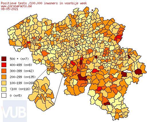 De coronacijfers (08/05/2021) van België +3.295, Sint-Truiden +5, Borgloon +1, Gingelom +0, Heers +4, Tongeren +0, Nieuwerkerken (Limburg) +1, Hasselt +16 en de Provincie Limburg +278