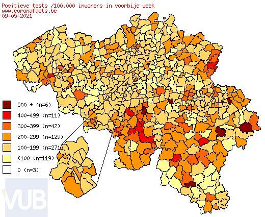 De coronacijfers (10/05/2021) van België +2,206, Sint-Truiden +6, Borgloon +0, Gingelom +0, Heers +0, Tongeren +5, Nieuwerkerken (Limburg) +2, Hasselt +10 en de Provincie Limburg +182