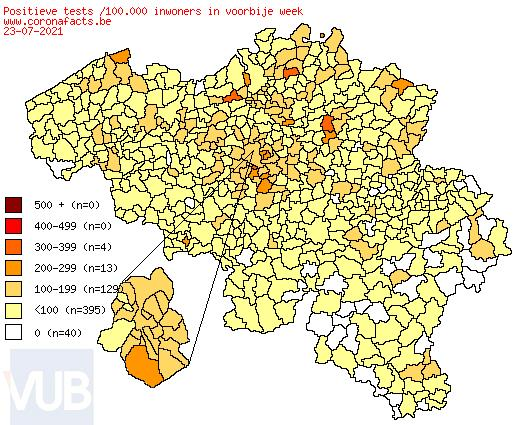 De coronacijfers (27/07/2021) van België +825, Sint-Truiden +2, Borgloon +0, Gingelom +1, Heers +0, Tongeren +2, Nieuwerkerken (Limburg) +0, Hasselt +5, Provincie Limburg +56 en 10 COVID-19 hospitalisaties in Provincie Limburg