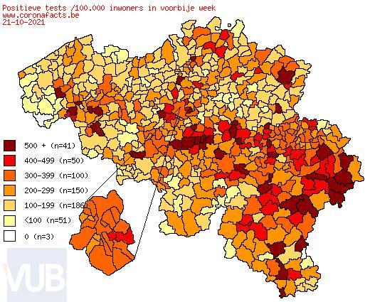 De coronacijfers (23/10/2021) van België +6623, Sint-Truiden +24, Borgloon +7, Gingelom +1, Heers +6, Tongeren +22, Nieuwerkerken (Limburg) +2, Hasselt +48, Provincie Limburg +612